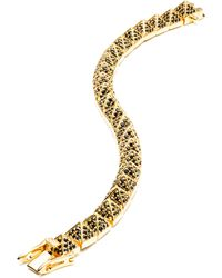 Eddie Borgo Small Gold-Plated Pave Crystal Pyramid Bracelet - Lyst