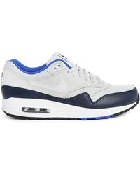 Nike Navy Blue And Grey Air Max 1 Leather And Mesh Sneakers - Lyst