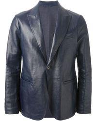 Giorgio Armani Leather Blazer blue - Lyst