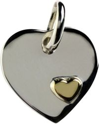 Links of London Sterling Silver Heart Disc Charm - Metallic
