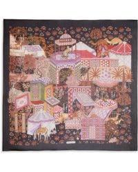 Ferragamo Camel & Floral Printed Silk Scarf black - Lyst