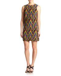M Missoni Zigzag-Print Silk Shift Dress - Lyst