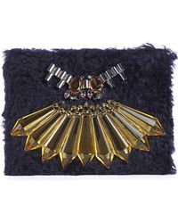 Mawi - Ink Blue Embellished Wool Clutch - Lyst