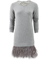 Haute Hippie Sweatshirt Dress with Feathers - Lyst