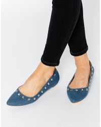 Truffle Collection - Nicky Stud Point Flat Shoes - Blue Fabric - Lyst