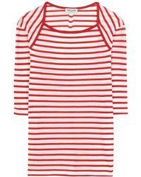 Saint Laurent Frill Trim Shirt red - Lyst