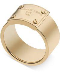 Michael Kors Logo Plate Ring gold - Lyst