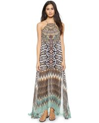 Camilla Long Sheer Overlay Dress - Eyasi Stillness beige - Lyst