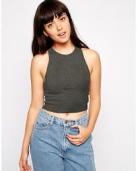 Asos The Sleeveless Crop Top In Rib - Lyst