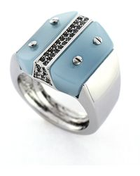 Vince Camuto - Silvertone Periwinkle Block Ring - Lyst