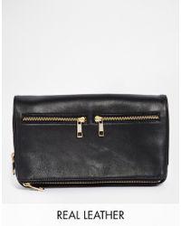 Asos Premium Leather Multi Compartment Clutch Bag black - Lyst