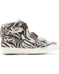 Toga Pulla Black And White Zebra High_Top Sneakers - Lyst
