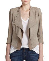 Lamarque Cascading Fringe-Sleeve Suede Jacket gray - Lyst