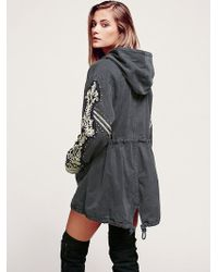 Free People Golden Quills Military Parka - Grey