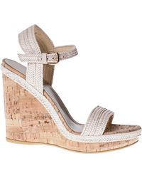 Stuart Weitzman For Scoop Exclusive Woven Leather Ankle Strap Cork Wedge white - Lyst