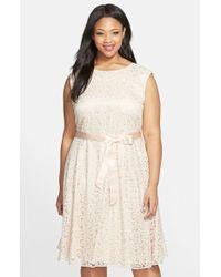 Tahari Flocked Lace Fit & Flare Dress - Lyst