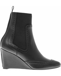 Balenciaga Broguedetail Leather Wedge Boots - Lyst