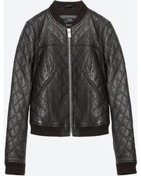 Zara   Leather Bomber Jacket   Lyst