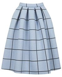 Topshop Grid Print Bonded Midi Skirt - Lyst