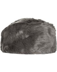 Topshop Faux Fur Cossack  Grey - Lyst