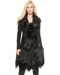 Donna Karan New York Belted Fur Coat  Black - Lyst