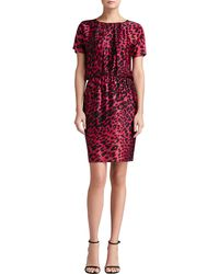 St. John Leopard Print Stretch Silk Charmeuse Dolman Sleeve Dress - Lyst