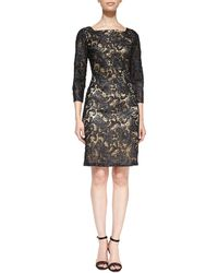 Sue Wong 34-sleeve Beaded Lace Cocktail Dress - Lyst