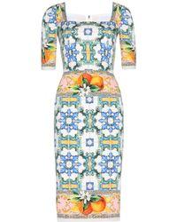 Dolce & Gabbana Silkcrepe Printed Dress - Lyst