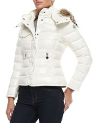 Moncler Puffer Jacket with Fur-trim Hood - Lyst