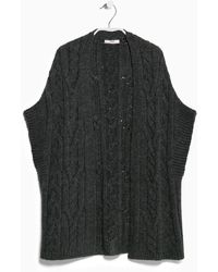 Mango Cable-Knit Wool-Blend Gilet gray - Lyst