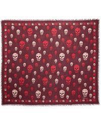 Alexander McQueen Purple Skull-print Shawl - Lyst