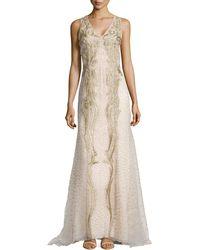 Carolina Herrera Eastern Silk Double Georgette Gown white - Lyst