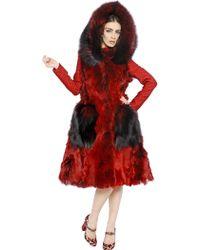 Dolce & Gabbana Alpaca and Fox Fur Coat - Red