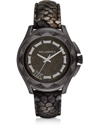 Karl Lagerfeld Karl 7 44Mm Python-Embossed Metallic Leather Band Unisex Watch - Lyst