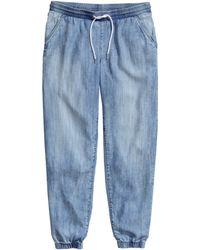 H&M Denim Joggers In Lyocell blue - Lyst