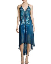 Meng - Printed Sleeveless Scarf Dress - Lyst