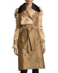 Carolina Herrera Fur-Collar Trenchcoat beige - Lyst