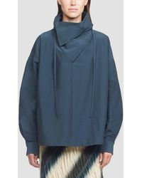 3.1 Phillip Lim Textured Faille Shirt With Scarf Neck - Blue
