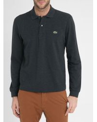 Lacoste | Mottled Charcoal Long Sleeve Polo Shirt | Lyst