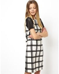 Asos Checked Shift Dress with Punch Out Leather Look Sleeve - Lyst