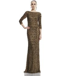 Theia | gold 3/4 Sleeve Beaded Gown | Lyst