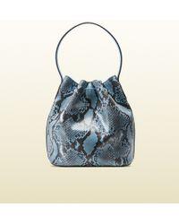 Gucci Lady Tassel Python Bucket Bag - Lyst