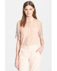 Rebecca Taylor Embellished Short Sleeve Top - Lyst