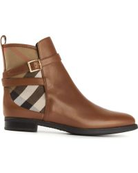 Burberry Nova Check Buckled Boots - Lyst