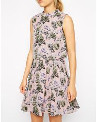 Oasis Pretty Floral Print Fit and Flare Dress - Lyst