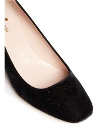 Kate Spade 'Danika Too' Jewel Heel Glitter Velvet Pumps black - Lyst