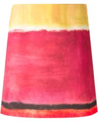 Alberta Ferretti Painted Colour Print Skirt - Lyst