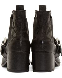 McQ - Black Grained Leather Silver_trimmed Chelsea Boots - Lyst