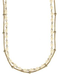 Anne Klein - Goldtone And Cream Pearl Double Strand Necklace - Lyst