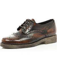 River Island Dark Brown Burnished Brogues - Lyst
